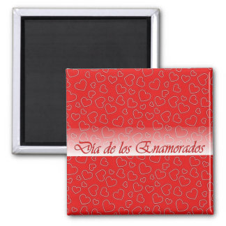 Spanish Valentine Red Hearts Square Magnet