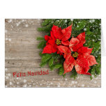 Spanishn Christmas - Christmas tree, Poinsettia Greeting Card