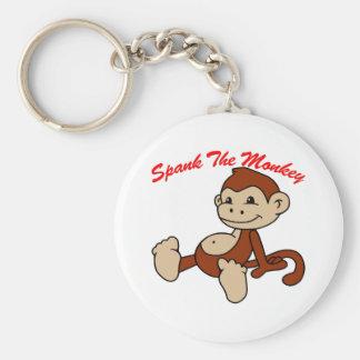 Spank The Monkey Basic Round Button Key Ring