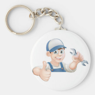 Spanner man over sign thumbs up keychain