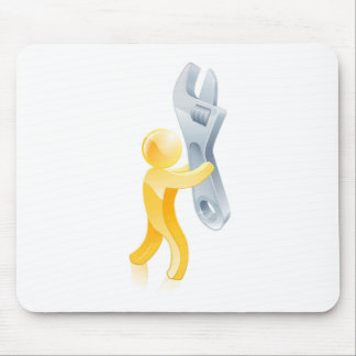 Spanner or wrench gold man mouse pads