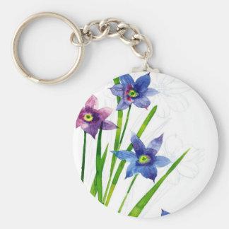 Sparing Blue Floral Key Chain