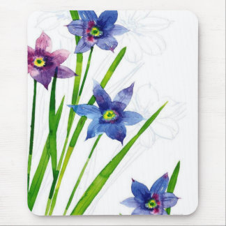 Sparing Blue Floral Mouse Pad