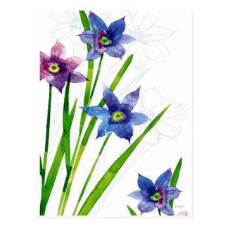 Sparing Blue Floral Postcard