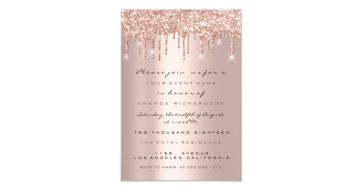 Spark Glitter Drips Rose Gold Bridal Sweet 16th Invitation Zazzle Co Uk