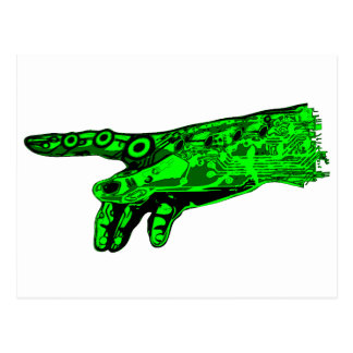 Spark of Life - Hand of a Cyborg God (Neon Green) Postcard