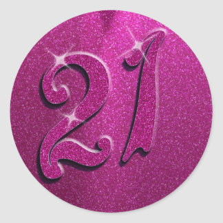 Sparkle 21st Pink Birthday Party Stickers