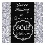 Sparkle 60th  Birthday Party Black & Silver Invita Personalized Invitation
