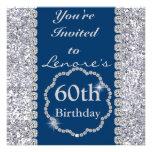 Sparkle 60th  Birthday Party ROYAL BLUE Invitation