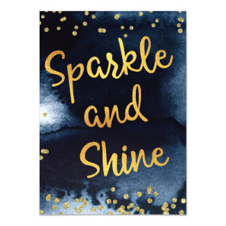 Sparkle And Shine Gold & Watercolor Typography Art Card
