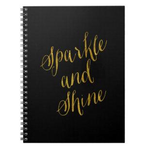 Sparkle quotes notebooks journals zazzle sparkle and shine quote faux gold foil sparkly notebook voltagebd Images