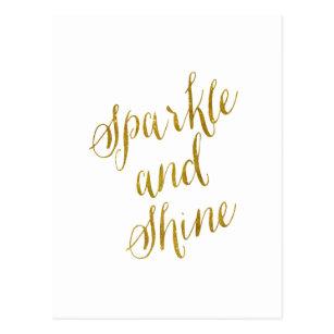 Sparkle quotes postcards zazzle uk sparkle and shine quote faux gold foil sparkly postcard voltagebd Images