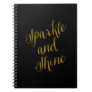 Sparkle and Shine Quote Faux Gold Foil Sparkly Spiral Notebook