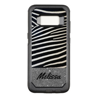 Sparkle Animal Print Zebra Name Phone Case