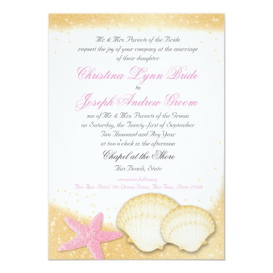 Sparkle Beach Sea Shells and Starfish Card