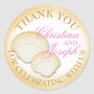 Sparkle Beach Seashells Thank You Classic Round Sticker