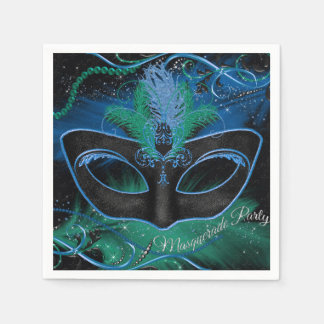Sparkle Blue & Green Mask Masquerade Party Napkin Paper Napkins