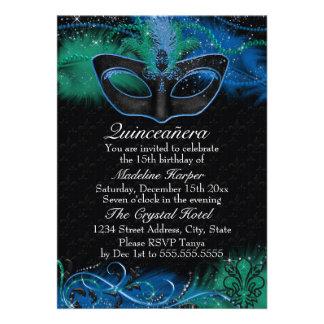 Sparkle Blue Green Mask Masquerade Quinceanera Invite