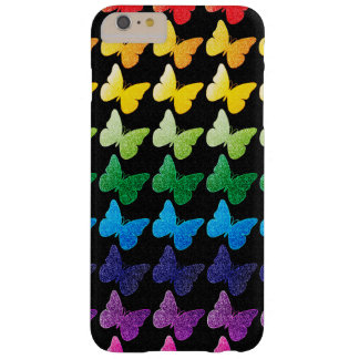 Sparkle Butterflies on Black Barely There iPhone 6 Plus Case