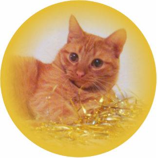 Sparkle Cat Holiday Ornament Photo Sculpture Decoration