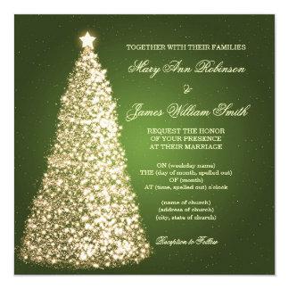 Sparkle Christmas Wedding Gold Green Card