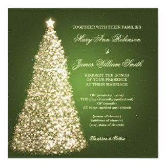 Sparkle Christmas Wedding Gold Green 13 Cm X 13 Cm Square Invitation Card