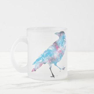 Sparkle Crow Frosted Glass Coffee Mug