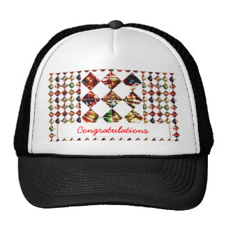 Sparkle Diamond Pattern Editable Greeting Text Mesh Hats