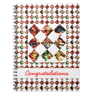 Sparkle Diamond Pattern : Editable Greeting Text Spiral Note Books