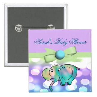 Sparkle Dots Pastel Elephant Baby Shower 15 Cm Square Badge