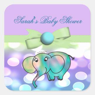 Sparkle Dots Pastel Elephant Baby Shower Square Sticker