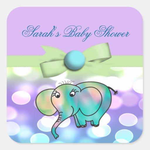 Sparkle Dots Pastel Elephant Baby Shower Sticker