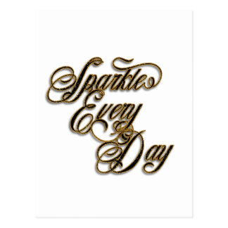 Sparkle Every Day Black Gold Glitter Wordart Postcard