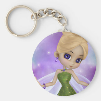 Sparkle Fairy Basic Round Button Key Ring