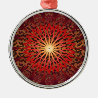 SPARKLE Floral n MOON Shine Round Metal Christmas Ornament