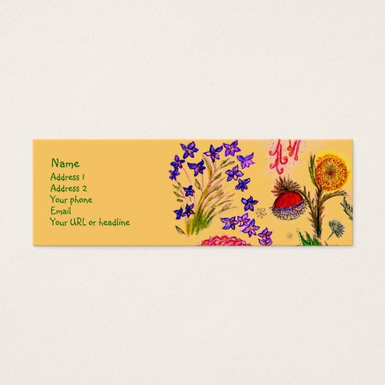 Sparkle Flowers card. Mini Business Card
