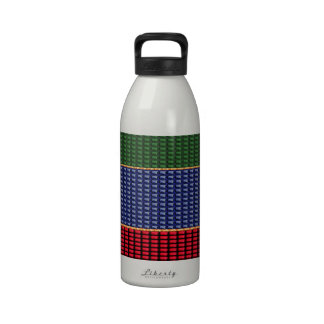 Sparkle Glitter Digital Blue Red Green Button GIFT Water Bottle