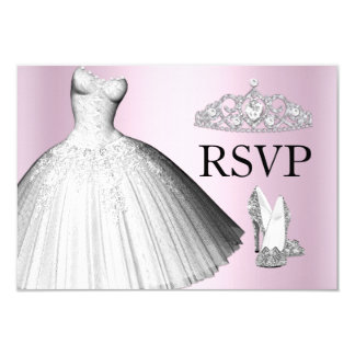 Sparkle Glitter Dress & Heels Quinceanera RSVP Card