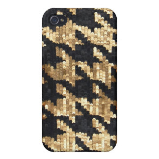 Sparkle Glitter Gold Bling Houndstooth iPhone 4/4S Covers