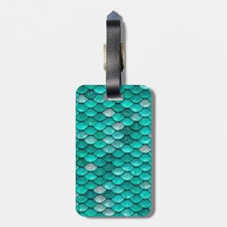 Sparkle Glitter Green Aqua Mermaid Scales Luggage Tag