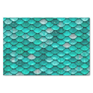 Sparkle Glitter Green Aqua Mermaid Scales Tissue Paper