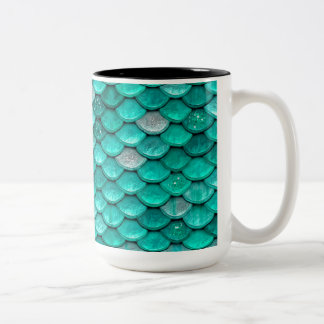 Sparkle Glitter Green Aqua Mermaid Scales Two-Tone Coffee Mug