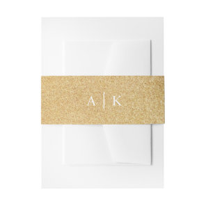 Sparkle gold glitter effect invitation belly band