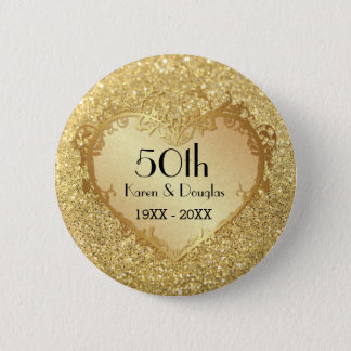Sparkle Gold Heart 50th Wedding Anniversary 6 Cm Round Badge