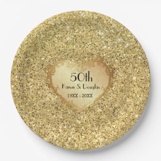 Sparkle Gold Heart 50th Wedding Anniversary 9 Inch Paper Plate