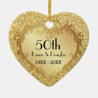 Sparkle Gold Heart 50th Wedding Anniversary Ceramic Heart Decoration