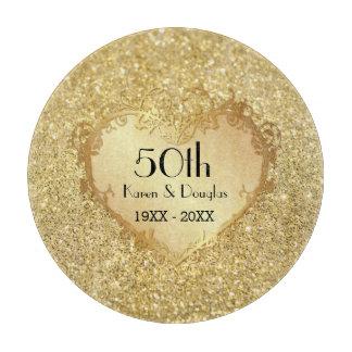 Sparkle Gold Heart 50th Wedding Anniversary Cutting Board