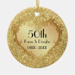 Sparkle Gold Heart 50th Wedding Anniversary Round Ceramic Decoration