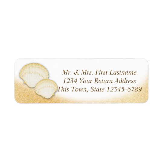 Sparkle Gold Seashell Beach Starfish Return Address Label