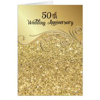 Sparkle Golden 50th Wedding Anniversary Folded Greeting Card